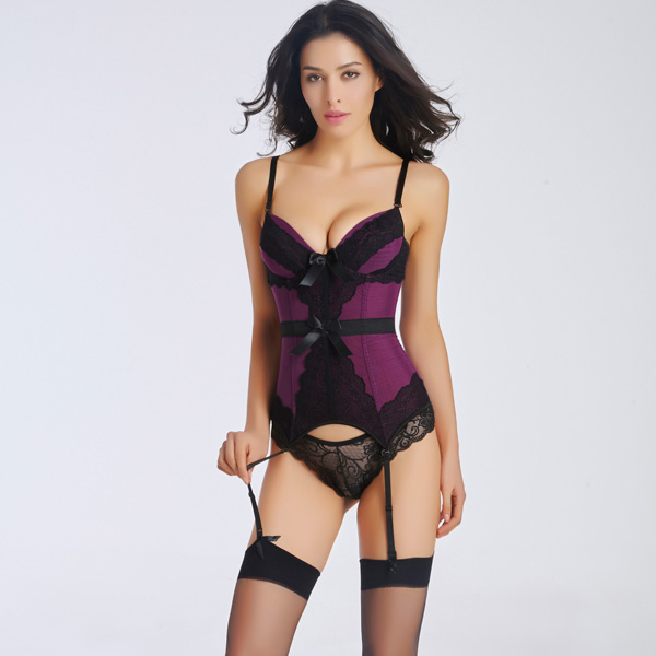 Sexy Removable Straps Lace Overlay Corset with Removable Garters Panty HP8521
