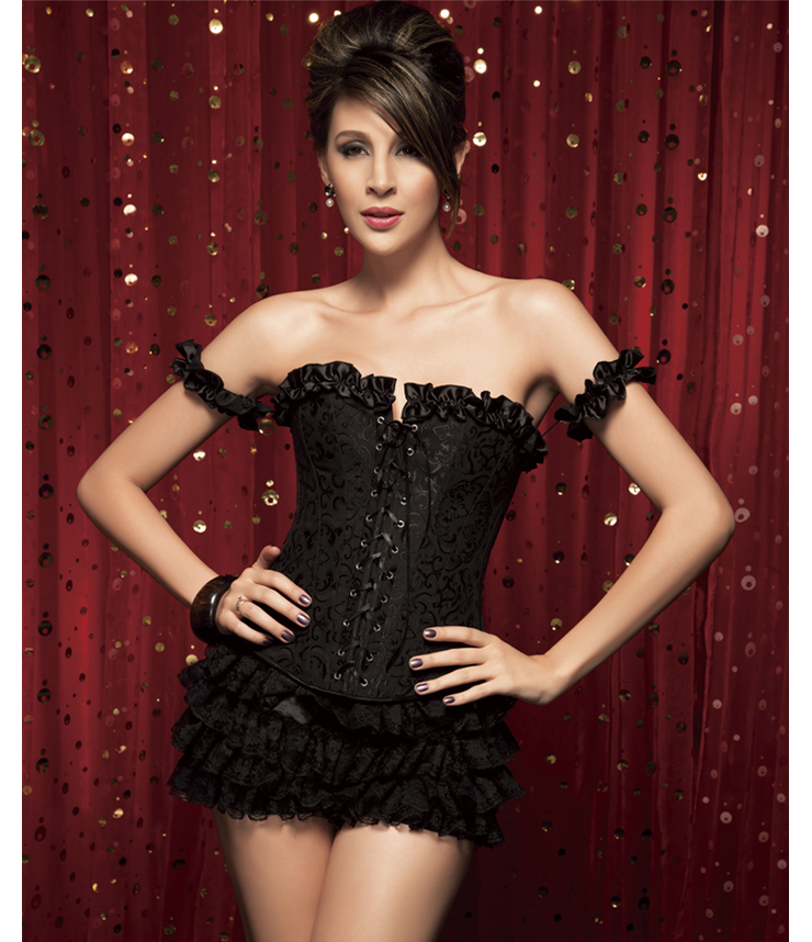 Tie-Strap Embroidered Corset & Shorts HP5032